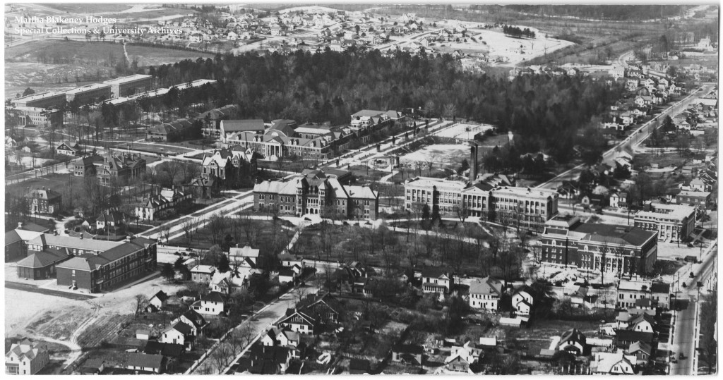 Aerial photo of the UNCG campus in 1926. The woods in the upper half of the photograph are Peabody Park Woods.